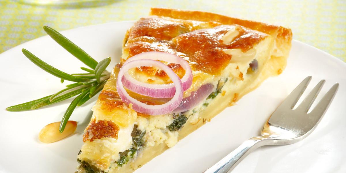 Quiche met spinazie, honing, munt, geitenkaas & Palm Dobbel